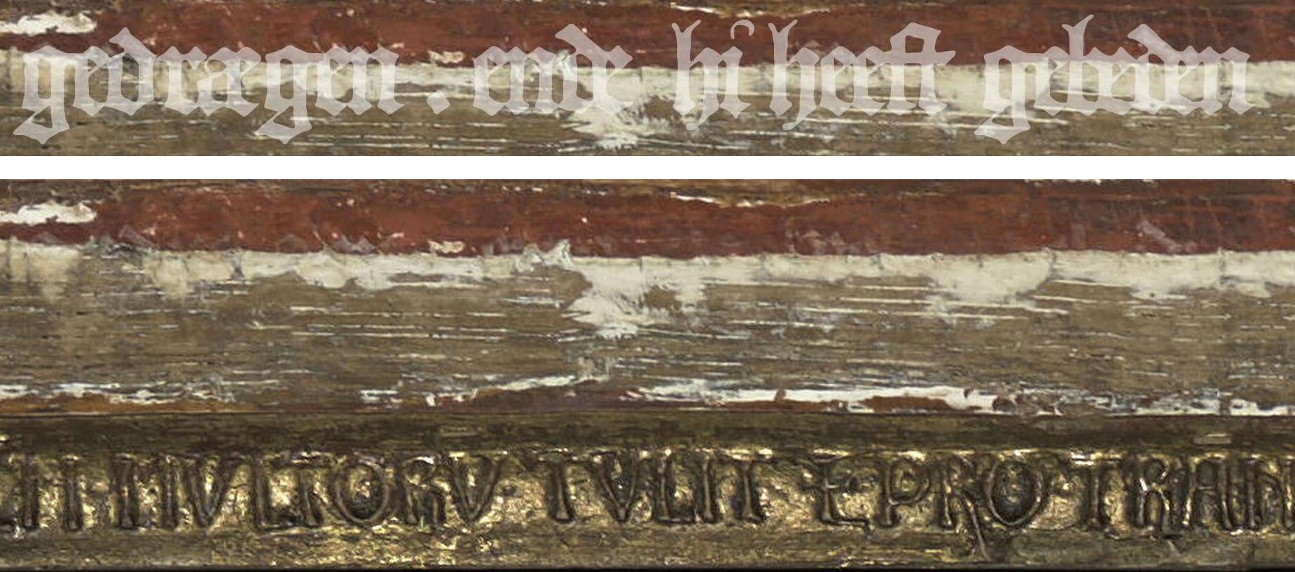 Cadre de la Crucifixion, détail: état après nettoyage (bas), restauration virtuelle (haut)