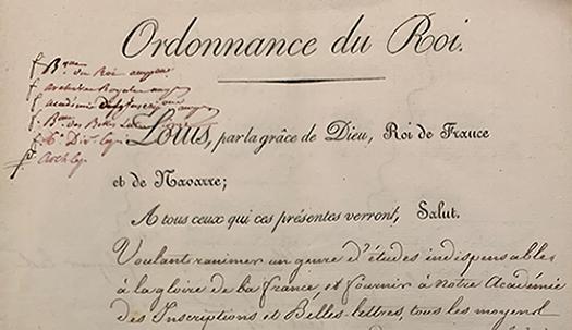 Ordonnance portant création de l'École des chartes (1821)