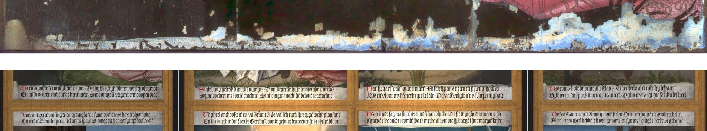 Retable de sainte Dimphne: pied du premier panneau (haut), restauration virtuelle des huit inscriptions (bas)