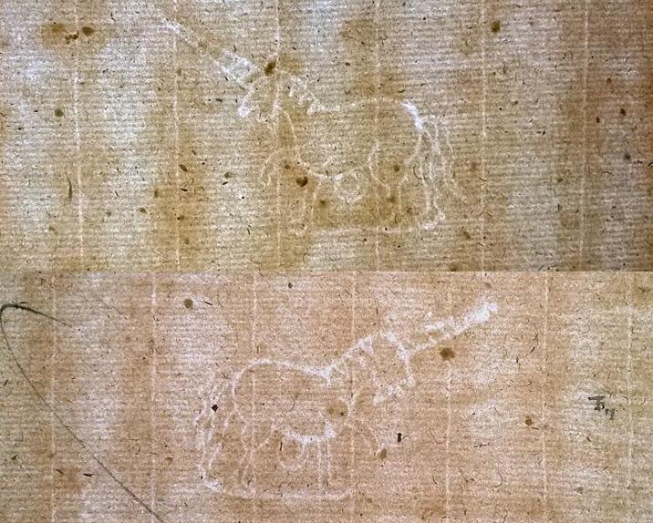 Couple de licornes jumelles dans un registre du notaire parisien Charles Ferrant (1600). Arch. nat., Min. centr., ét. VII, 59