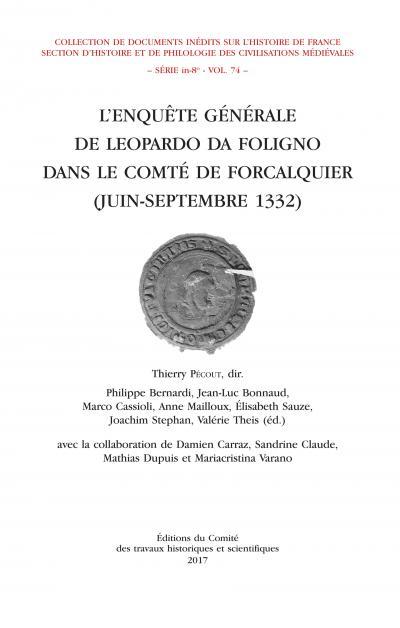 Couverture de L'Enquête générale de Leopardo da Foligno dans le comté de Forcalquier