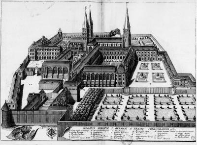 Saint-Germain-des-Prés (plaque 1687) par Michel Germain (1645–1694), publié par Achille Peigné-Delacourt en 1870 dans Monasticon gallicanum.
