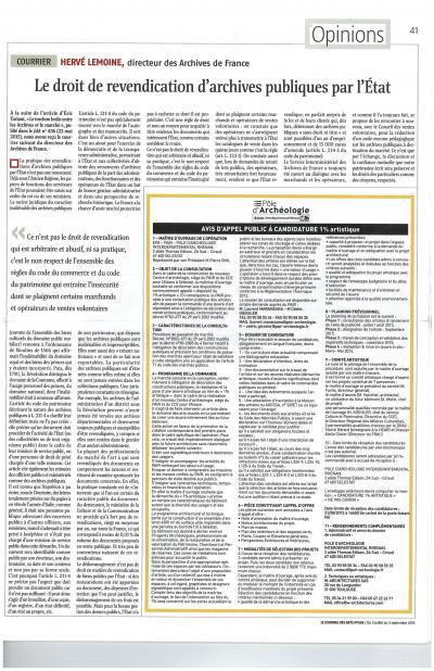 Article de Hervé Lemoine dans le JdA