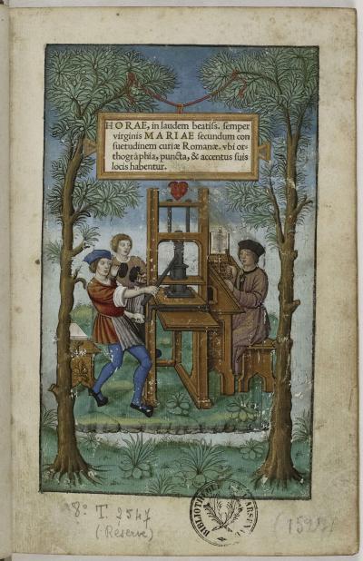Heures à la louange de la Vierge Marie selon l'usage de Rome, imprimées par Simon de Colines pour Geoffroy Tory, Paris, 1525. Page de titre enluminée attribuée à Étienne Collault