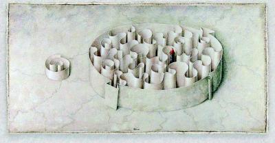 Armodio, Domus extra moenia II, tempera su tavola http://www.armodio.it - avec l'autorisation gracieuse de l'artiste