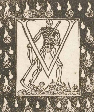 Placard funéraire de M. Husson, ancien avocat au Parlement, 1729. Détail de la lettrine. Arch. nat., Min. centr., PL//2, n° 253.