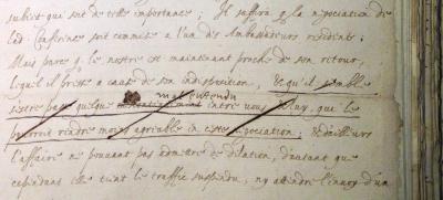 The National Archives, State Papers, Foreign, France, 78, 52, fol. 115. Robert Cecil à Villeroy, 14 avril 1605, Greenwich, copie avec annotations marginales autographes (détail).