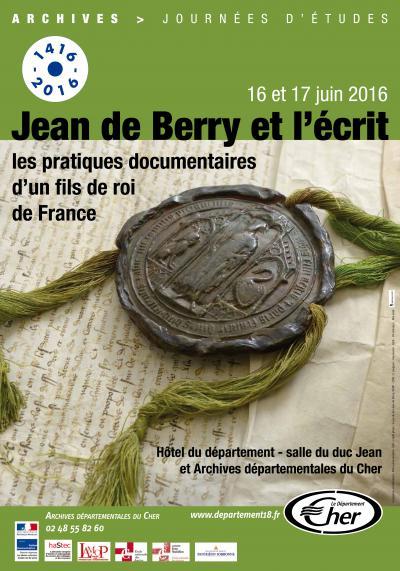 Affiche des journées d'étude «Jean de Berry et l'écrit»