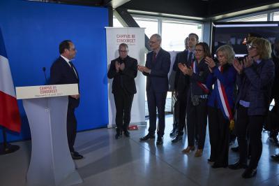 Visite du président de la République au Campus Condorcet