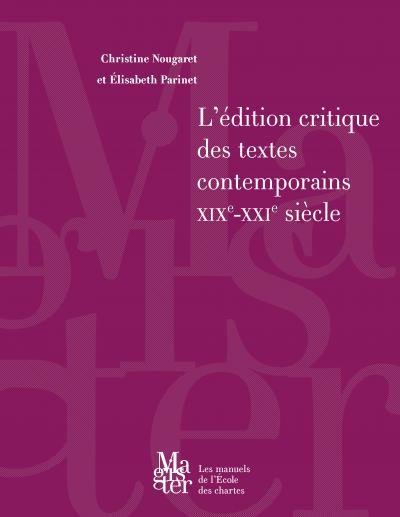 Couverture de L'édition critique des textes contemporains