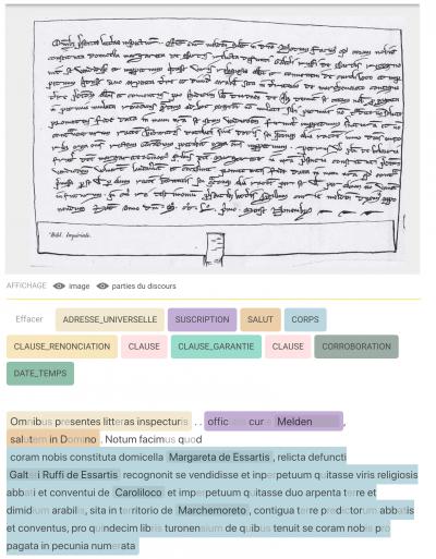 Vue de l'application Adele. Acte sous le sceau de l'officialité épiscopale de Meaux. Une patiente politique d'acquisition: vente de terre aux cisterciens de Chaalis (1251)