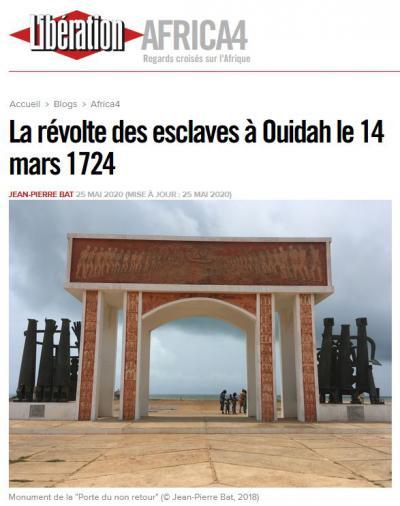 Article «La révolte des esclaves à Ouidah le 14 mars 1724» (Libération, 25 mai 2020)