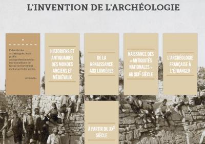 Capture d'écran de la webpublication de l'Inrap sur «L'histoire de l'archéologie»