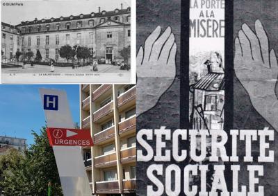 Collage Hôpital de la Salpétrière,affiche de 1945 création de la Sécurité sociale, panneau AP HP