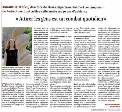 Annabelle Ténèze dans le Journal des Arts du 22 mai 2015