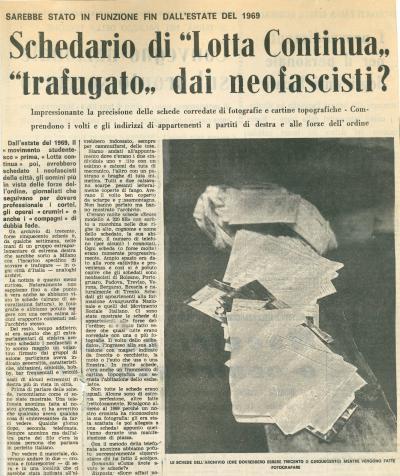 Article paru dans le journal Alto Adige le 1er décembre 1971