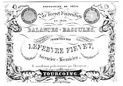 Carton publicitaire, lithographie de Beghin à Roubaix, 1844-45. Coll. particulière