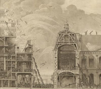 Dispositions presentées au gouvernement, depuis l'an 6, pour garantir la Bibliothèque nationale contre les dangers du feu en cas d'une incendie au Theâtre des Arts (estampe gravée par Berthault)