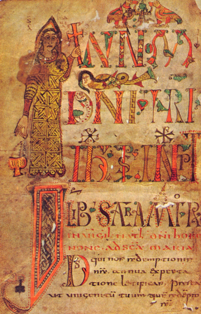 Vierge portant une croix et un encensoir. Sacramentaire de Gellone. Meaux (?) Fin du VIIIᵉ siècle. Paris, Bibliothèque Nationale, Lat. 12048. F° 1v