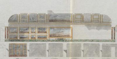 Esquisse inédite de la Galerie des batailles au premier étage de l'aile du midi au château de Versailles, 19 août 1833