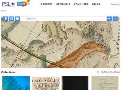 Page d'accueil de la bibliothèque numérique de PSL
