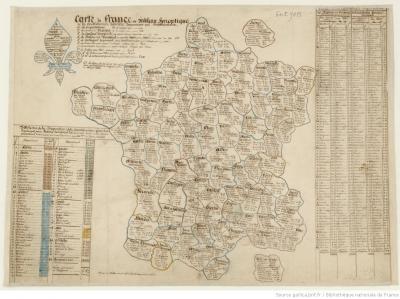 Carte de France ou Tableau synoptique de la Contribution foncière,  [S.l.]: [s.n.], 1824 @ gallica.bnf.fr