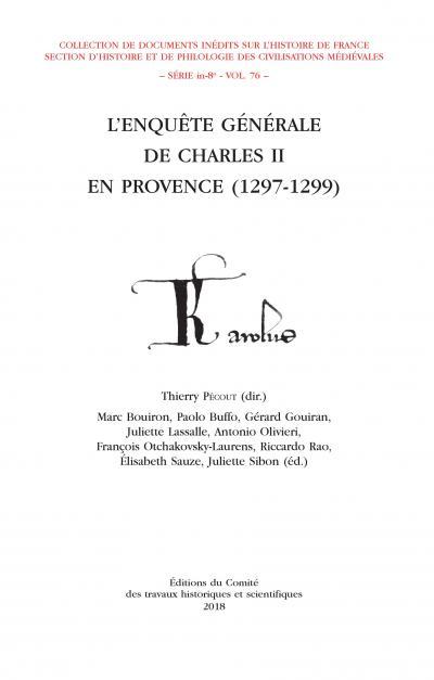 Couverture de l'ouvrage L'Enquête générale de Charles II en Provence (1297-1299) - vol. X