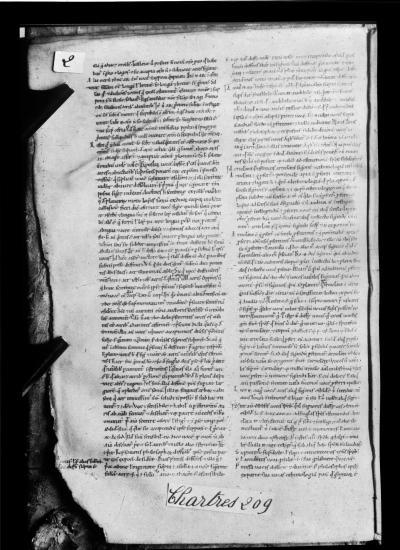 Folio 2V, Chartres 209, Microfilm de l'IRHT