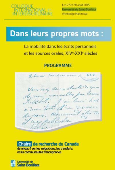 Affiche du colloque «La mobilité dans les écrits personnels et les sources orales»