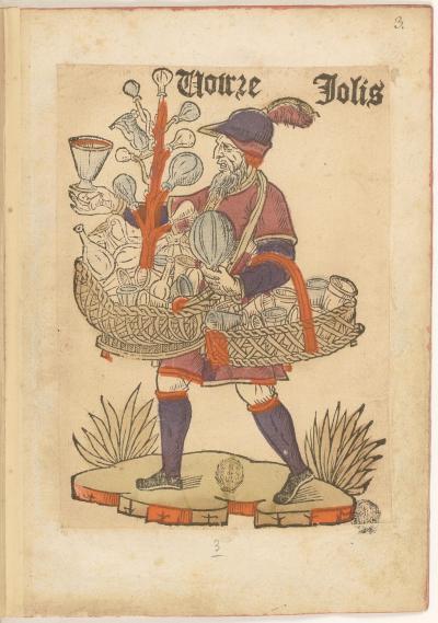 Estampe de la Bibliothèque de l'Arsenal représentant les Cris de Paris, XVIe siècle, réserve EST-264, fol. 3