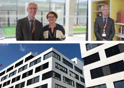 Bâtiment de recherche nord du Campus Condorcet, avec Michelle Bubenicek, directrice de l'École, et Christophe Marion, délégué général du CTHS