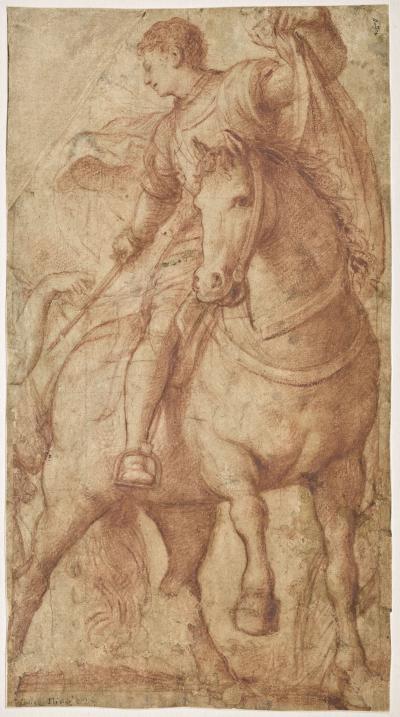 Saint Martin à cheval, partageant son manteau, Giovanni Antonio de Sacchis, dit Il Pordenone (Pordenone, 1483/1484 – Ferrare, 1539)
