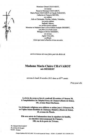 Décès de Marie-Claire Chavarot (prom. 1955)