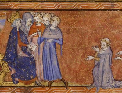 Philippe Auguste remet le premier privilège royal aux maîtres et étudiants de Paris, Livre des procureurs de la nation de France (XIVe siècle)