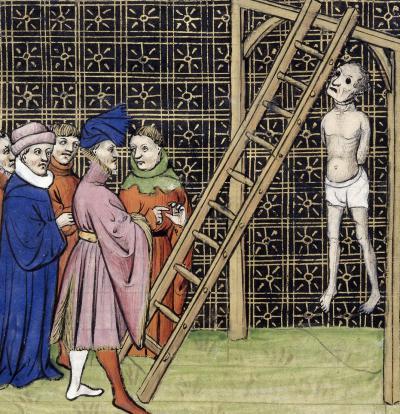 L'exécution d'Enguerrand de Marigny, selon une enluminure des Grandes Chroniques de France