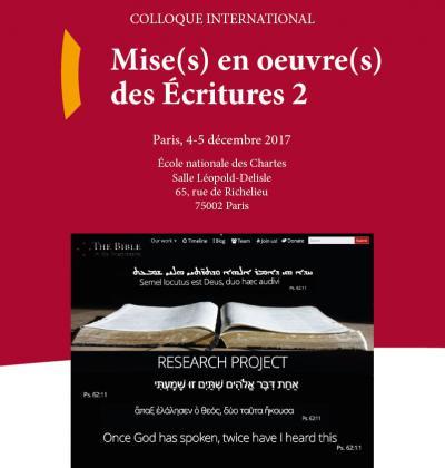 Affiche du colloque «Mise(s) en oeuvre(s) des Écritures 2»
