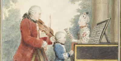 «Petit portrait de famille» (détail) par Louis Carrogis de Carmontelle en 1764, réalisé à Paris lors de la tournée européenne de Nannerl, Wolfgang et Leopold Mozart en Allemagne, Belgique, France, Angleterre, Pays-Bas, entre 1763 et 1766.