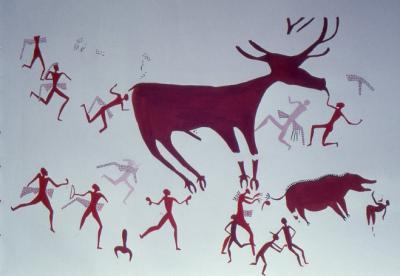 Scène de chasse (village néolithique de Çatalhöyük)