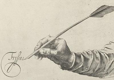 Gravure de Frisius au début du Spiegel der Schrijfkunste de Jan van den Velde, 1605