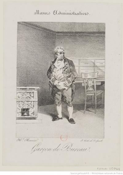 Garçon de bureau, estampe, Henry Monnier (1799-1877), dessinateur du modèle