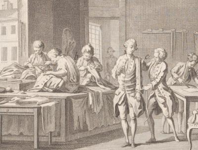 Atelier d'un tailleur d'habits (détail), planche tirée de l'Encyclopédie de Diderot et d'Alembert