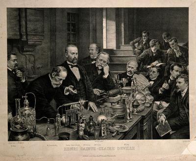 Henri Sainte-Claire Deville démontrant une expérience au laboratoire de chimie de l'École Normale Supérieure, Paris, 1878