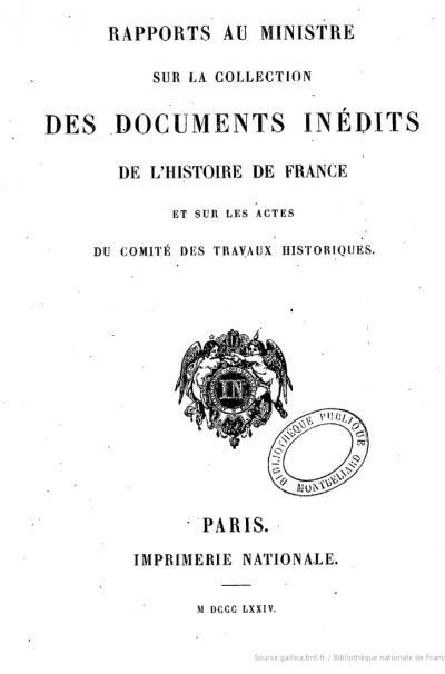 Couverture du Rapport au ministre sur les documents inédits de l'histoire de France