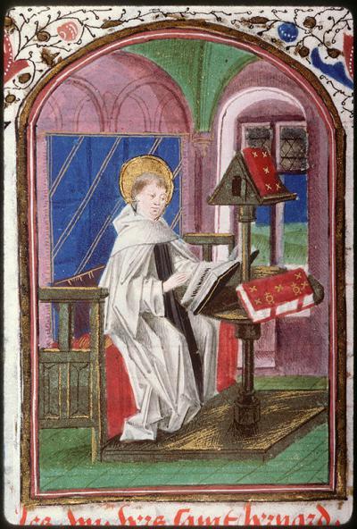 Bernard de Clairvaux lisant contenue dans le manuscrit d'Amiens, Bibl. mun., 200, fol. 163r