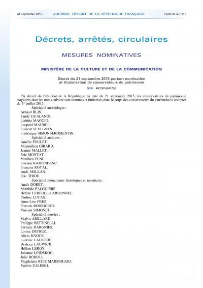 Décret du 21 septembre 2015 portant nomination et titularisation de conservateurs du patrimoine