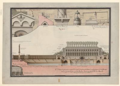 Jean Jacques Lequeu, Le château de plaisance composé d'un corps de logis quadrilatère à angles égaux, 1777-1825, BnF, département Estampes et photographie, RESERVE FOL-HA-80 (1), gallica.bnf.fr
