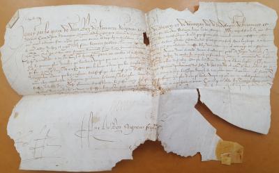 Lettres patentes d'Henri de Bourbon, roi de Navarre, seigneur souverain de Béarn, accordant à Jacques Dumirailh une place d'écolier pensionnaire au collège d'Orthez, Pau, 6 septembre 1582