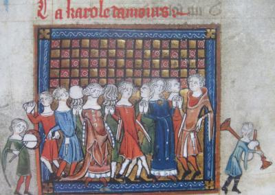 «Carole du dieu Amour», Roman de la Rose, Londres, British Library, Royal, 20 A XVII, fol. 9