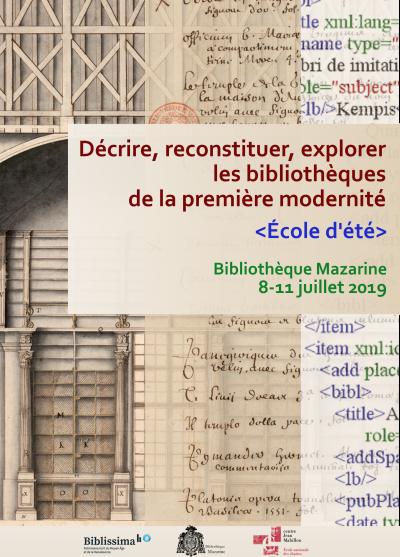 Affiche de l'école d'été «Décrire, reconstituer, explorer les bibliothèques de la première modernité»