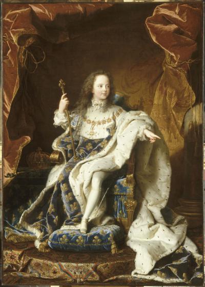 Hyacinthe Rigaud, Portrait du roi Louis XV, 1715-1717, huile sur toile, H. 1,89 x L. 1,35 m, Versailles, musée national des Châteaux de Versailles et de Trianon, inv. MV 3695